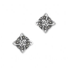 Celtic Knot Silver Stud Earrings with Marcasite 9463